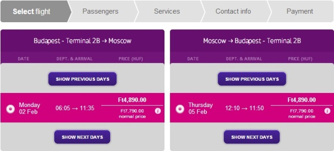 Cheap flights from Budapest to Moscow