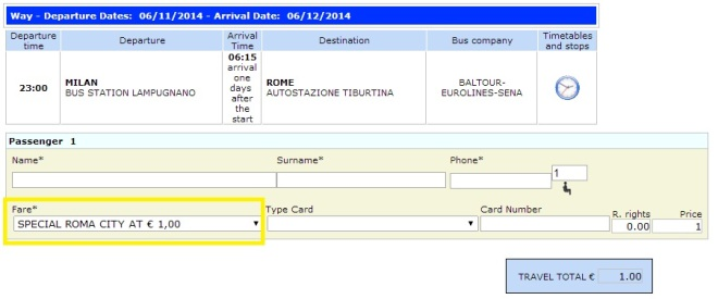Eurolines Milan to Rome for only 1€ per way