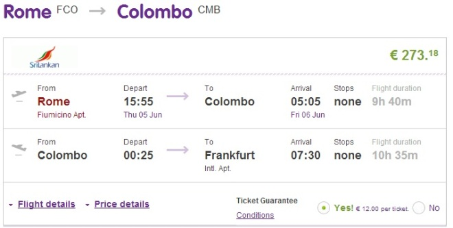 From Europe to Colombo, Sri Lanka for only €274 -roundtrip