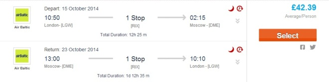 Moscow from London for 42gbp