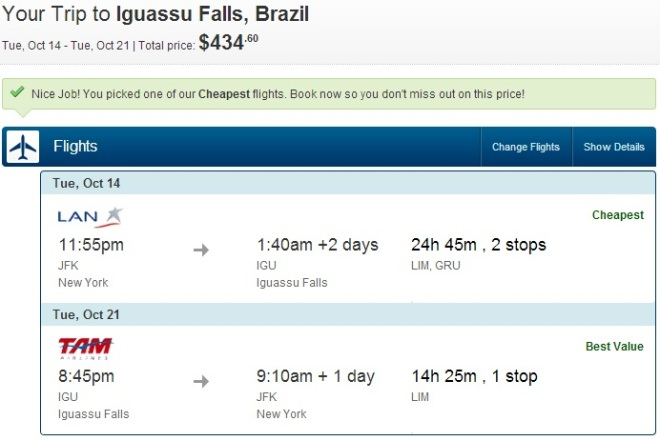 New York to Iguazu Falls for only $434