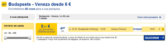 Venice from Budapest for 20€ per way
