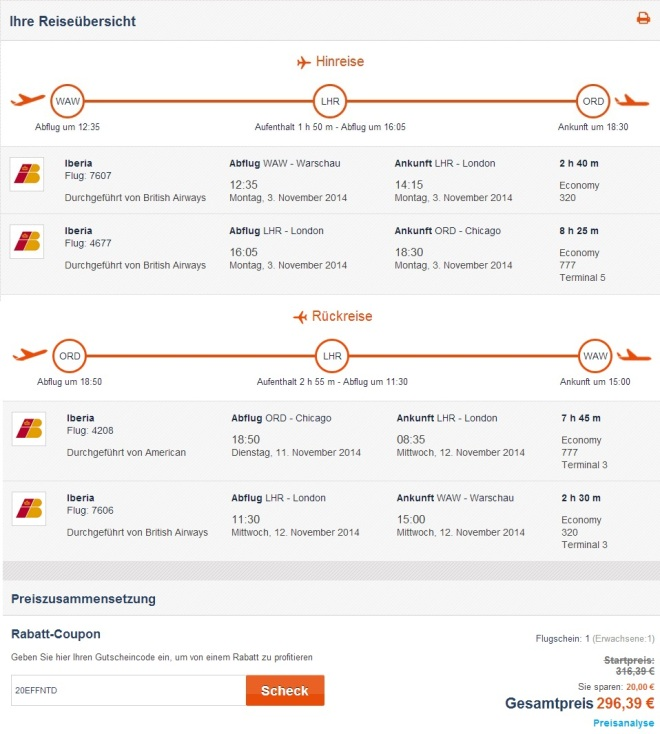 Chicago from Warsaw for €296 - round trip