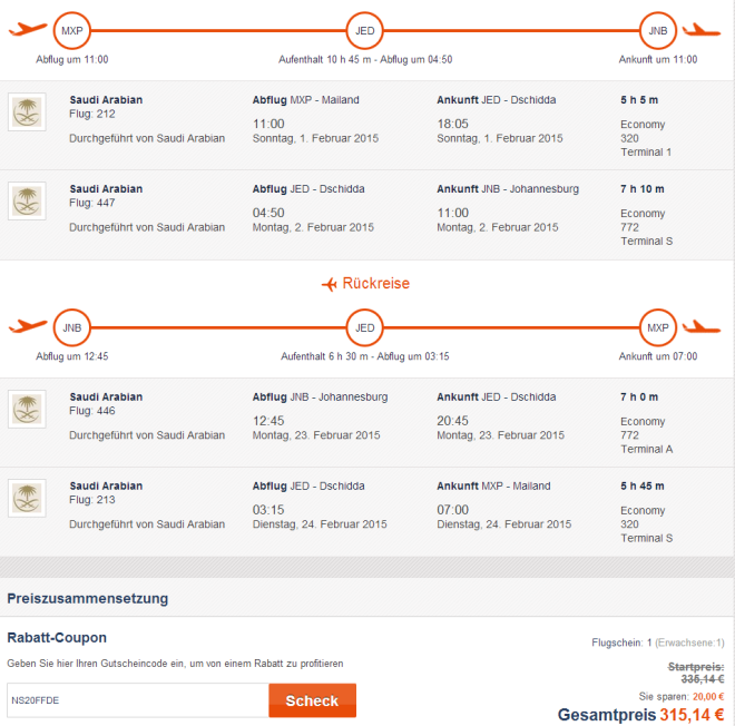 Flights from Milan to Johannesburg for €315