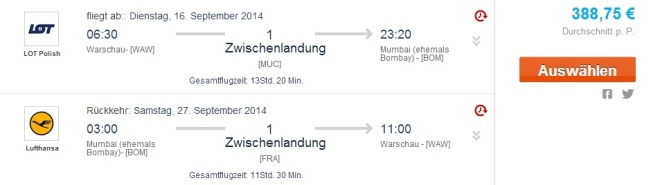 Flights to India from Warsaw for €388 - roundtrip