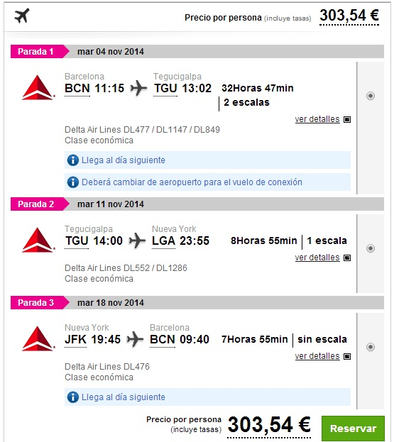 Honduras and New York from Barcelona for €303